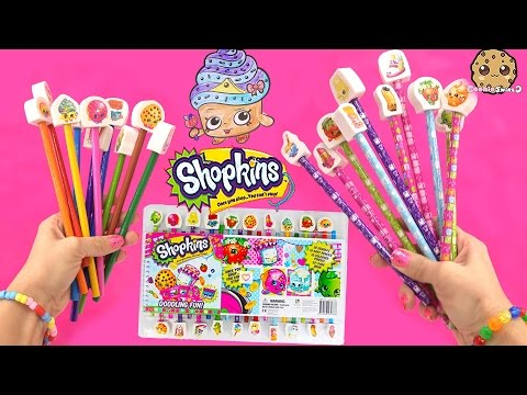 Shopkins Doodling Fun Art Color Book, Coloring Pencils, Erasers Set Unboxing Video Cookieswirlc