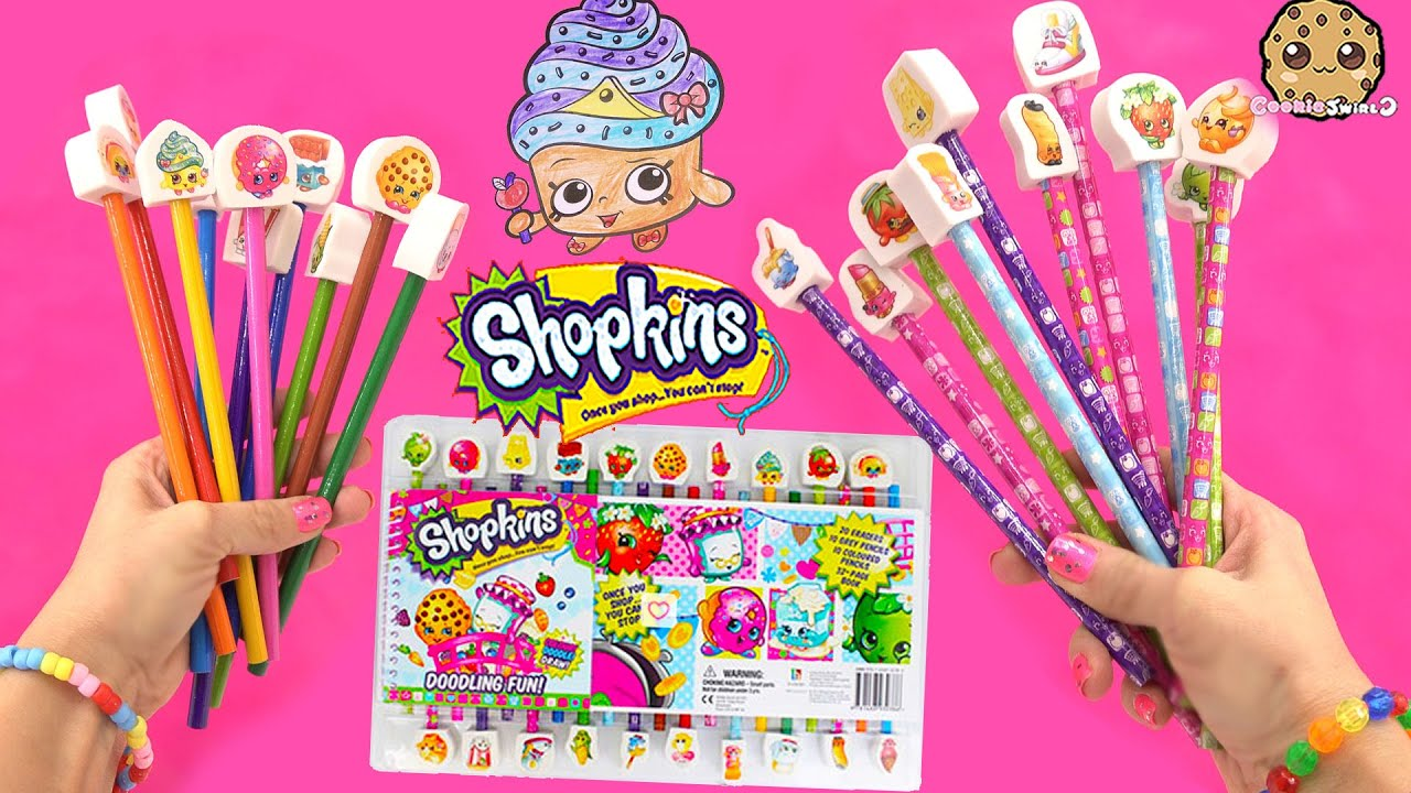 Shopkins Doodling Fun Art Color Book Coloring Pencils Erasers