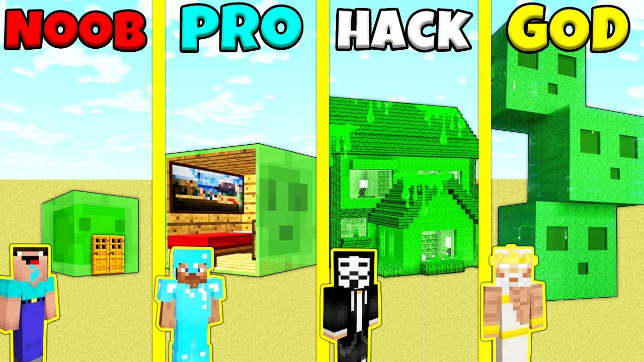 Minecraft Battle: NOOB vs PRO vs HACKER vs GOD: INSIDE SLIME STATUE HOUSE BUILD CHALLENGE Animation