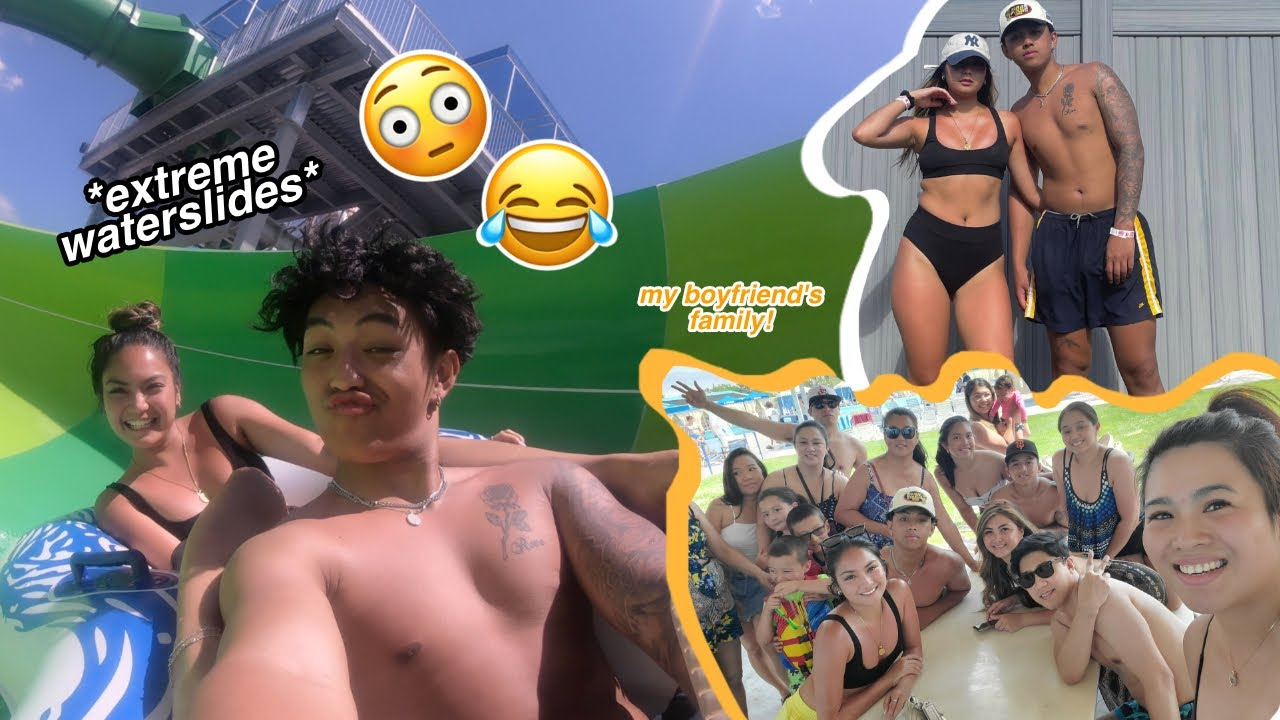 My Day: WATERPARK with my boyfriend's FAM 🤪💛*extreme waterslides!*