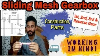 32) Sliding Mesh Gearbox ~ Construction & Working    Hindi ~ Automobile Engineering