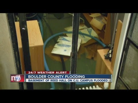 Reed Hall on CU Boulder campus flooded