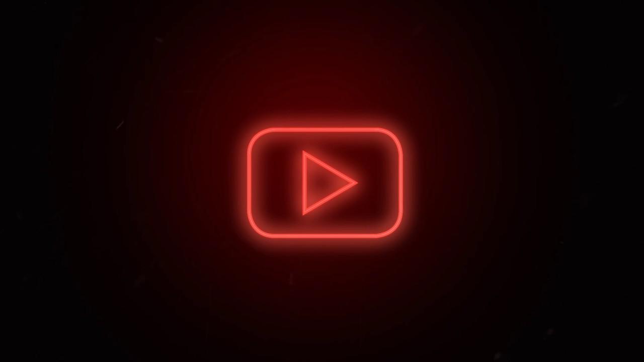 Social media YouTube Logo Neon flickering - Free motion ...