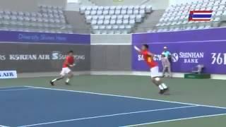 คลิปย้อนหลัง เทนนิสชายคู่ สนฉัตร สรรค์ชัย เอเชียนเกมส์ 2014 รอบ8ทีม   YouTube