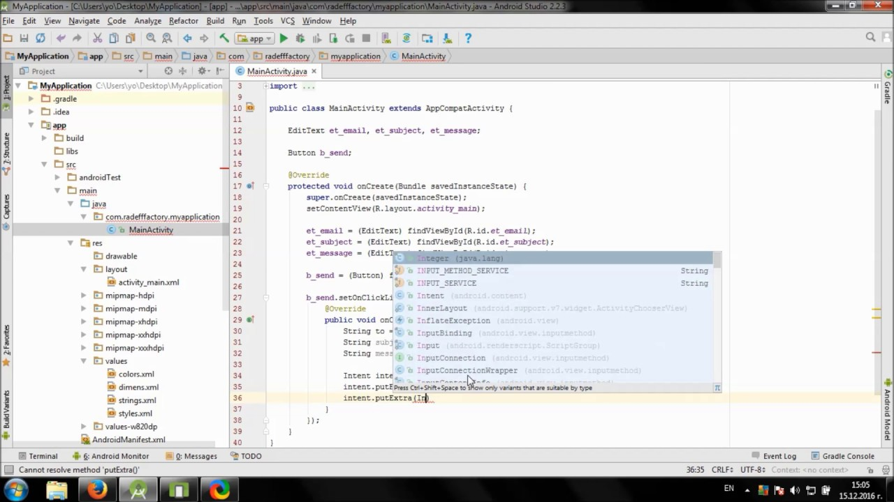 Develop simple Email app in Android Studio
