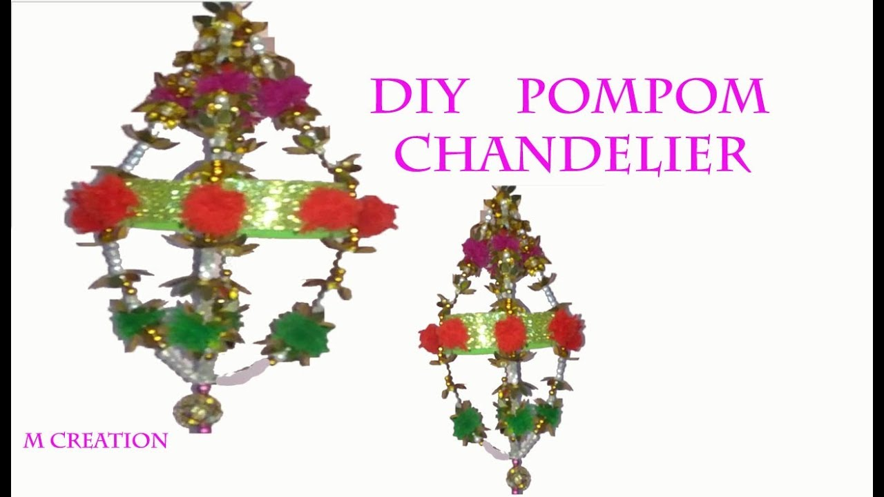 How to make chandelierdiy pompom ceiling hanging youtube how to make chandelierdiy pompom ceiling hanging arubaitofo Images