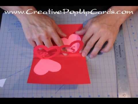 Easy Valentines Day Pop Up Card Tutorial Linked Hearts YouTube – How to Make a Easy Valentine Card