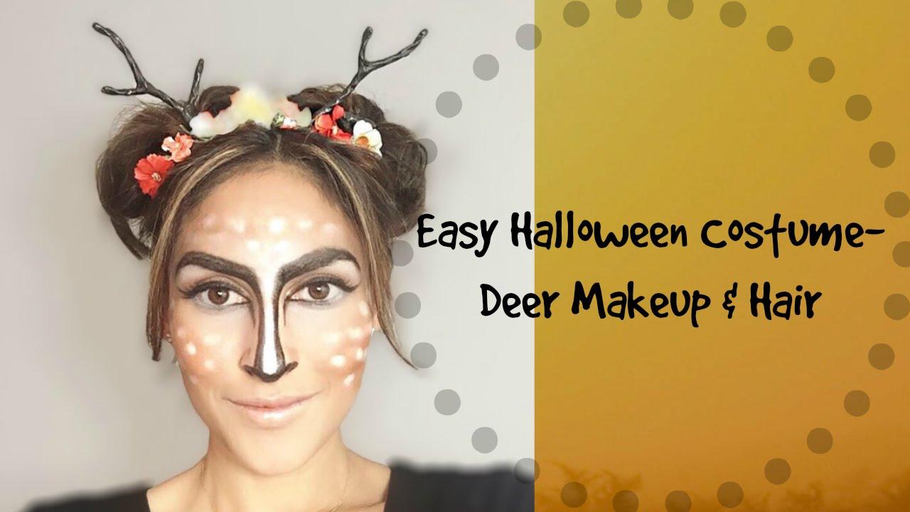 Easy & Cute Halloween Costume- Deer Makeup & Hair - YouTube