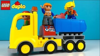 LEGO DUPLO BIG CONSTRUCTION SITE WITH MIGHTY MACHINES BULLDOZER A CRANE & DUMP TRUCK AND WORKERS