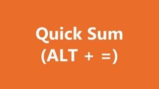 Excel Shortcuts - Quick Sum