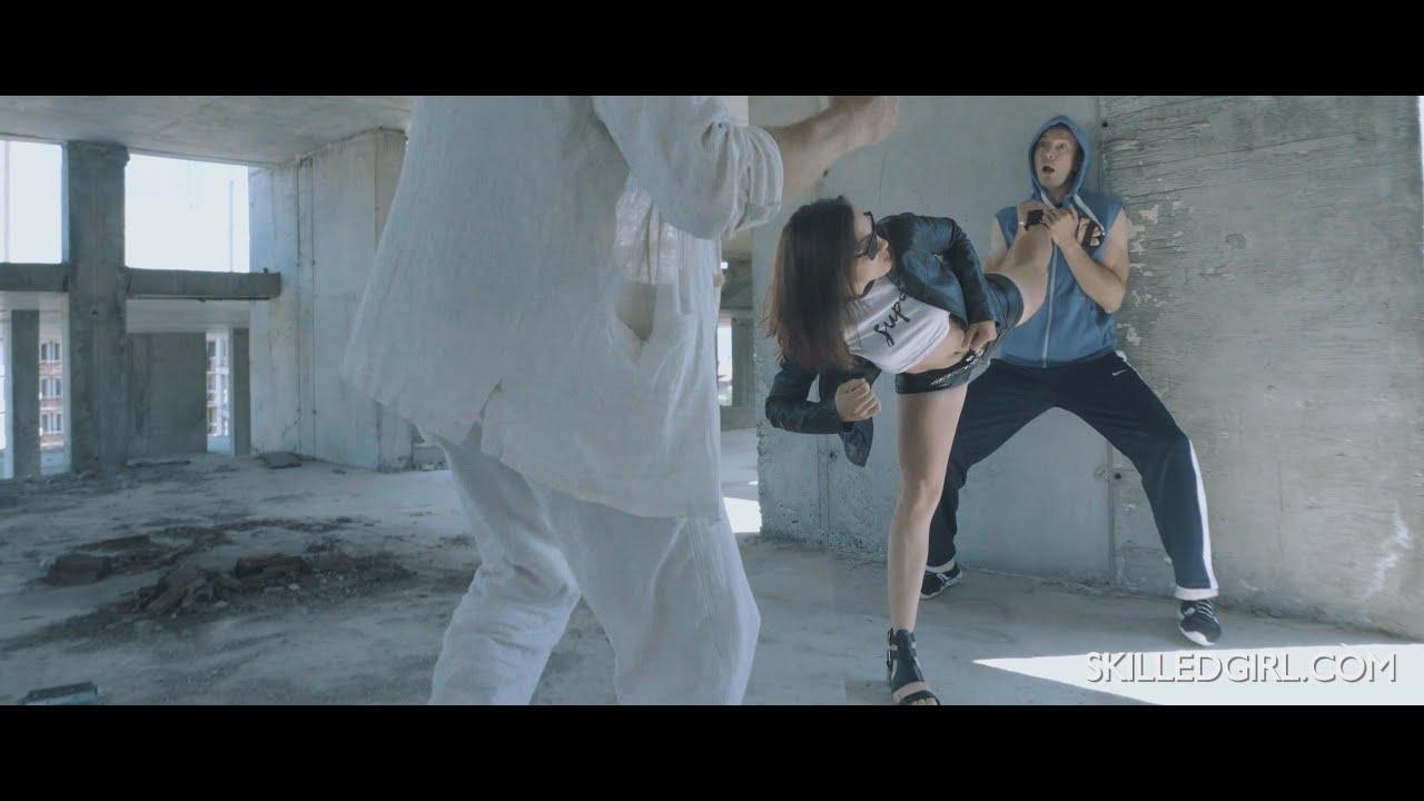 Karate girl defeat 2 armed criminals (skilledgirl.com movie preview)