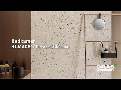 Virtuele realisatie van een badkamer in 'Terrazzo' solid surface