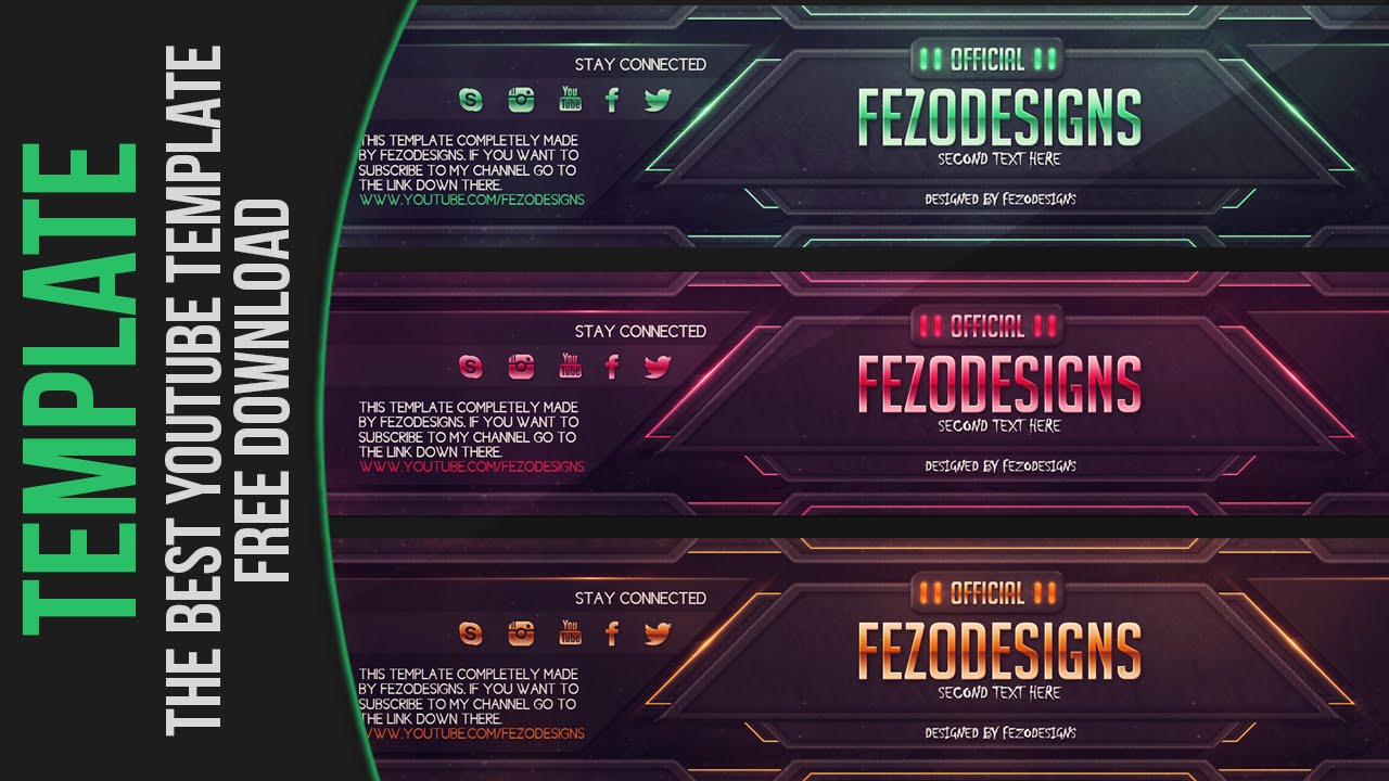 the best youtube banner template fezodesigns free download youtube
