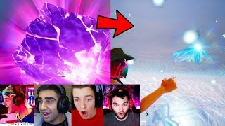 Fortnite Streamers REACT to Cube EXPLODING! (Fortnite Battle Royale Kevin Cube Explodes LIVE)