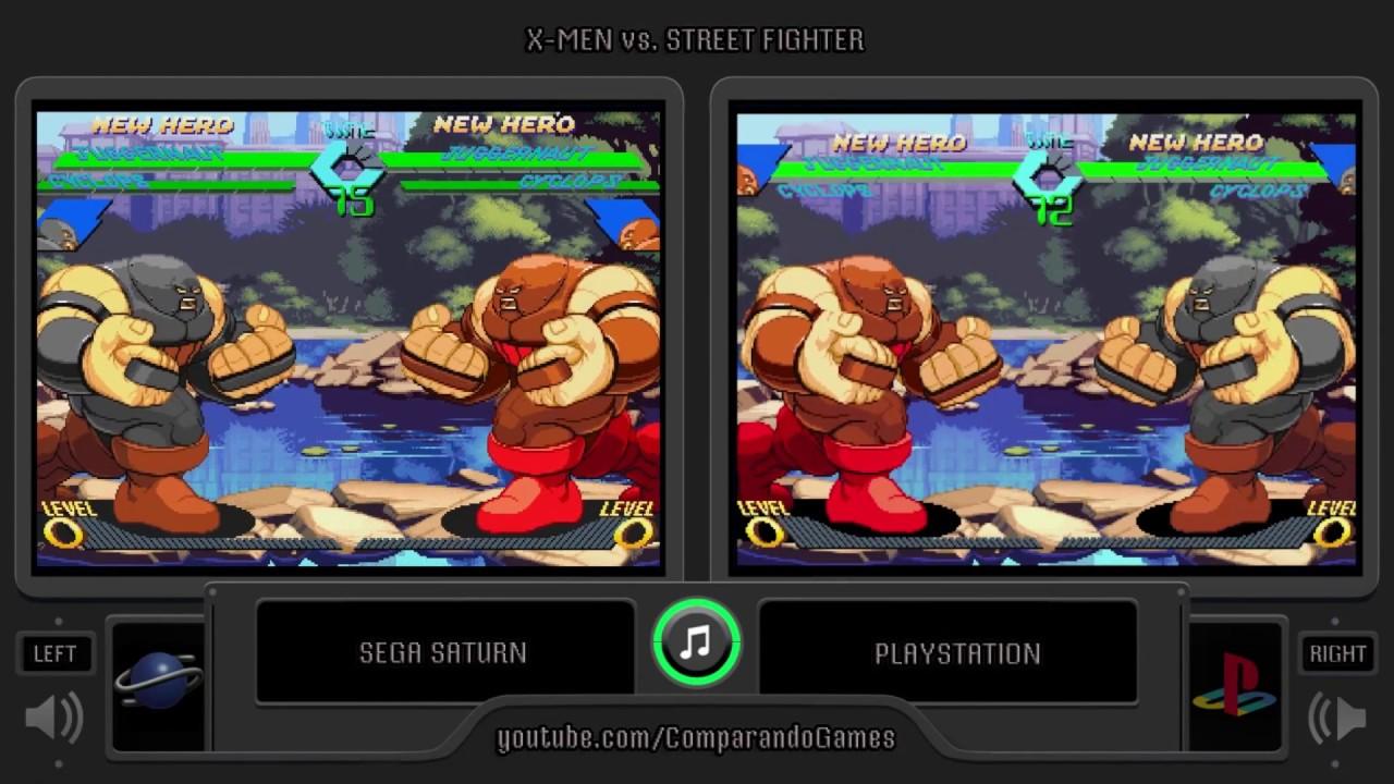 X Men Vs Street Fighter Sega Saturn Vs Playstation Side By Side