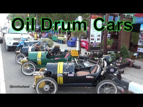 Oil Drum Cars in Rural Thailand, How cool is this.