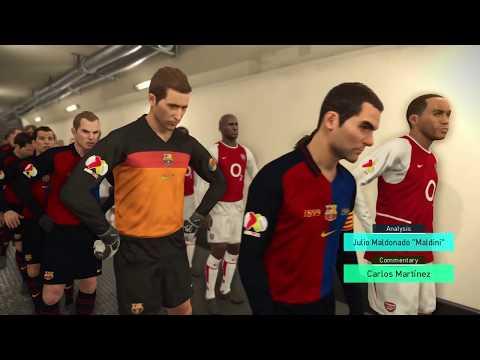 PES 2018 Classic teams Arsenal 01-06 v Barcelona 97-00