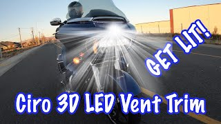 Install Ciro 3D Fang LED Lighted Vent Trim on Harley Road Glide-Review