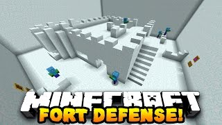 Minecraft SNOW FORT DEFENSE! (20 WAVES OF ZOMBIES) w/Preston, Jerome, Choco & Kenny