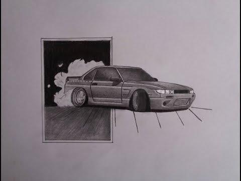 Nissan Silvia S13 / Drift / Рисунок карандашом