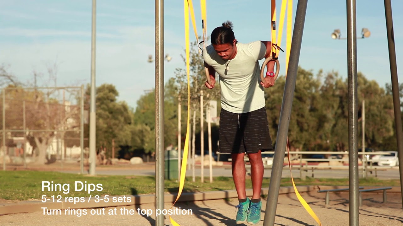 Gymnastics Rings Bodyweight Push Chest Workout