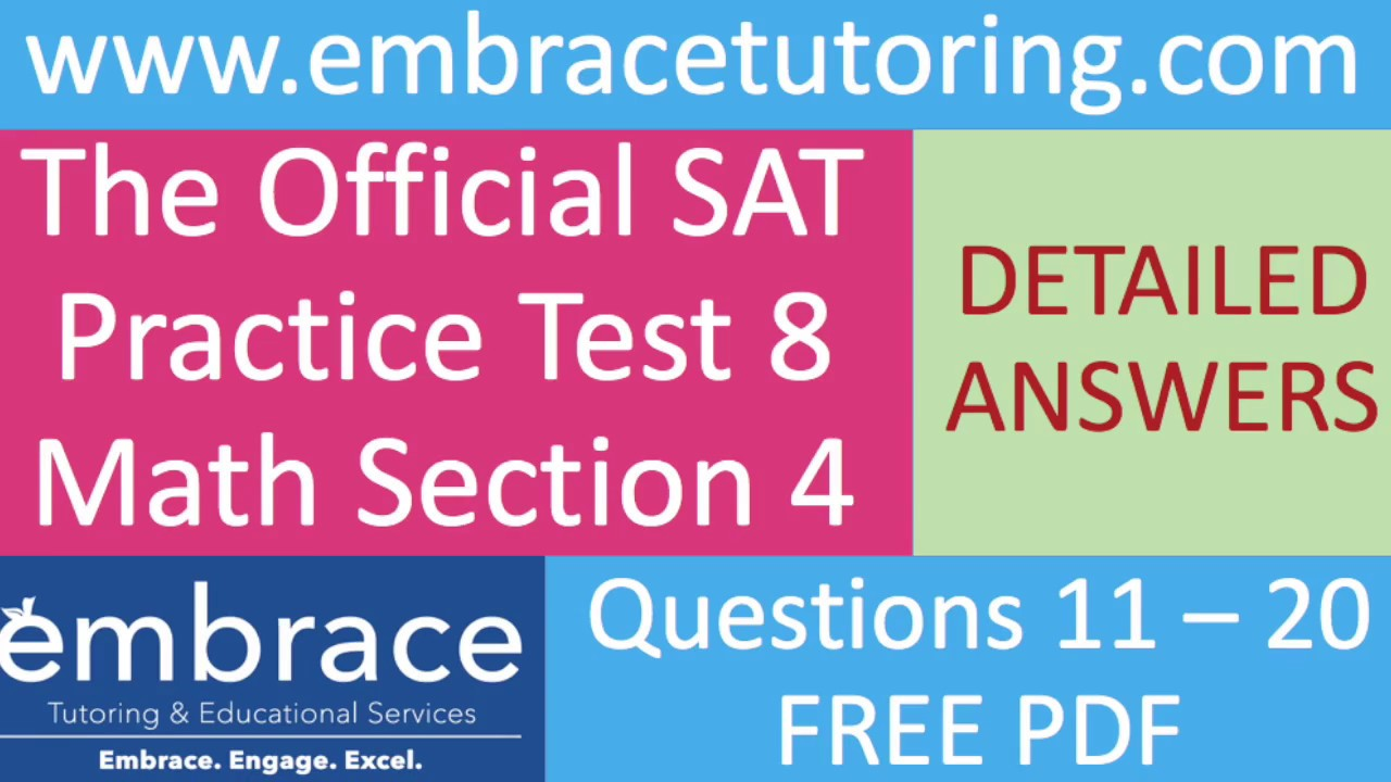 SAT Math Practice Test 8 Section 4 Questions 11 - 20 Detailed ...