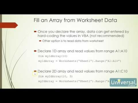 Lesson 9: Arrays, Class Modules, Trapping Events, Objects and Collection - VBA Course