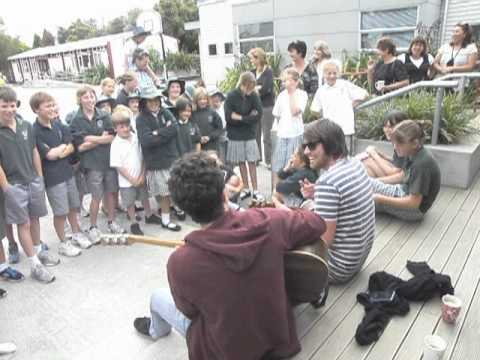 James Beck and Christian Gallen Sing with Springston School Students