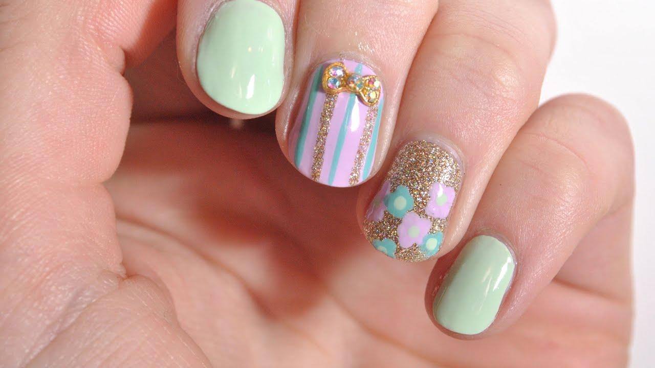 Cute and Easy Spring Nails   Nail Polish Galore - YouTube