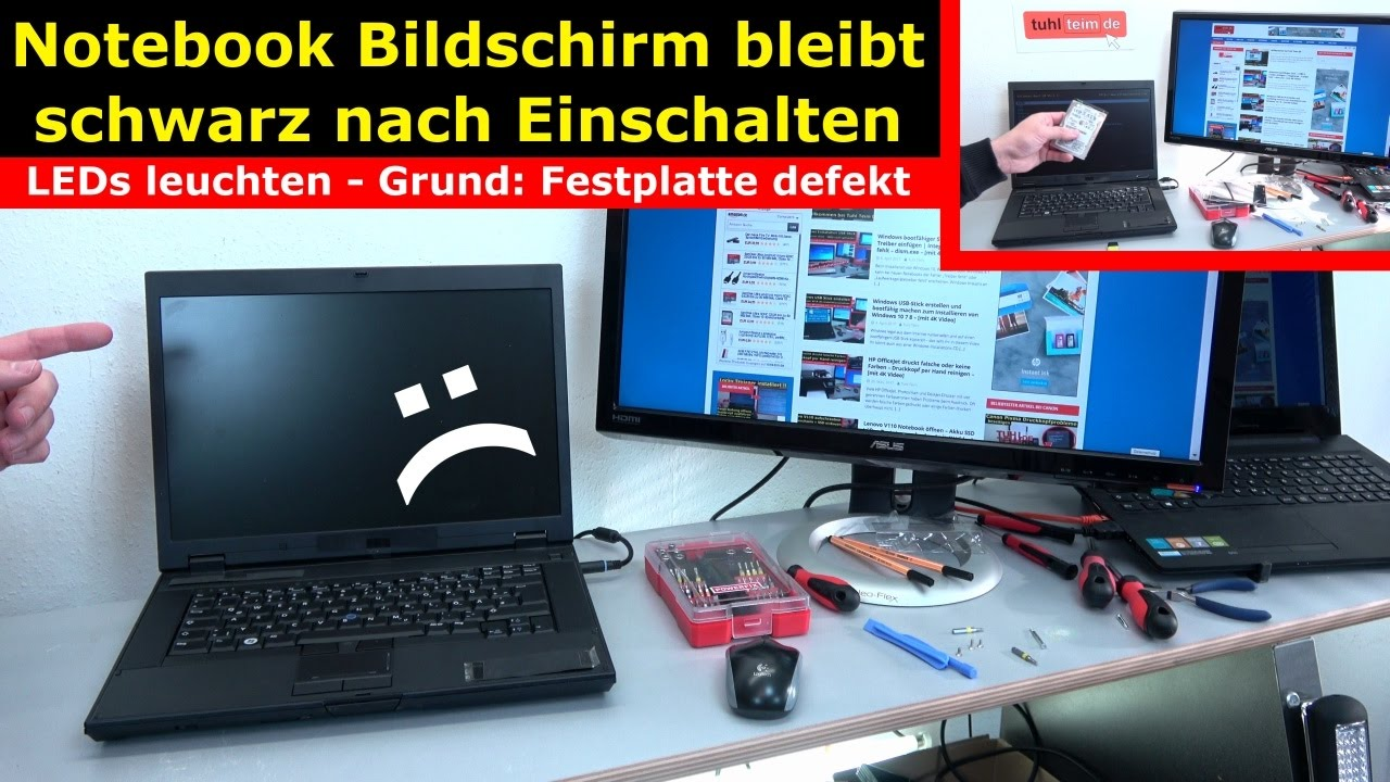 Notebook Bildschirm Bleibt Schwarz Oder Geht Aus Ursache Hdd Defekt 4k Video