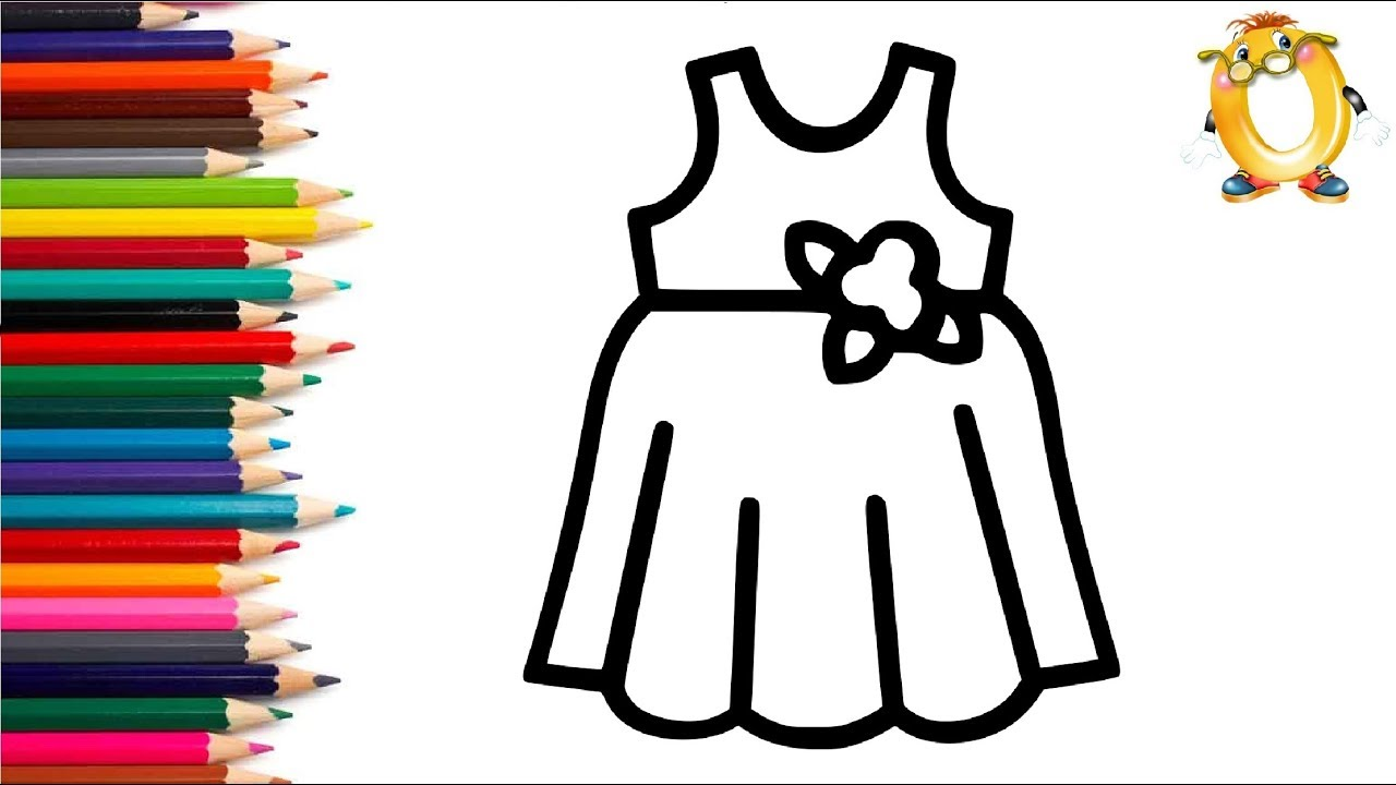 Раскраска для детей ПЛАТЬЕ. Мультик - Раскраска. Учим ...