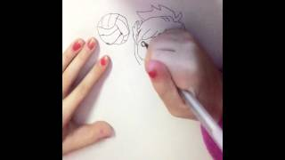 Drawing volley player