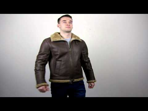Men's Shearling Sheepskin Flying Jacket - Colby