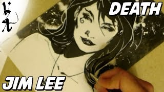 Jim Lee drawing Death from Sandman during Twitch Stream