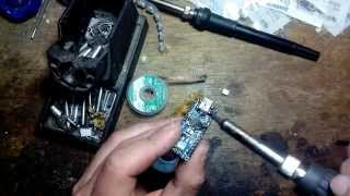 Soldering iron A-BF GS90D: desoldering mini USB socket without any special tools