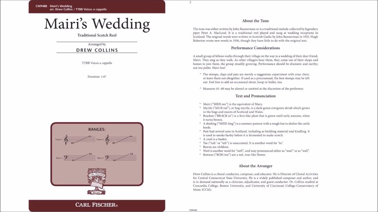 Mairis Wedding CM9488 Arr By Drew Collins Carl Fischer Music