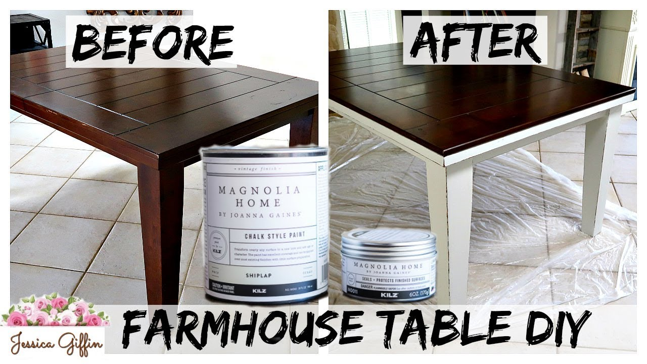 Diy Farmhouse Table Makeover Magnolia Home Chalk Paint Review Youtube