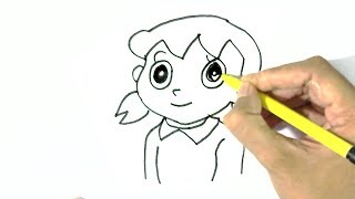 How to draw  Shizuka Minamoto -Doraemon  in easy steps for children. beginners