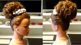 Свадебная прическа,прическа на выпускной,праздничная прическа. Wedding prom holiday hairstyle