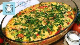 Фриттата. Итальянский омлет с курицей и овощами