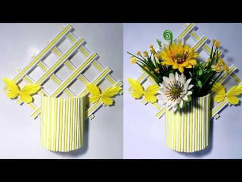 DIY Crafts!!! Wall Hanging Flower Vase Showpiece Making Out of Origami Paper