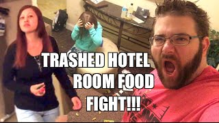 TRASHED HOTEL ROOM FOOD FIGHT over TRYTREATS.COM Food Box