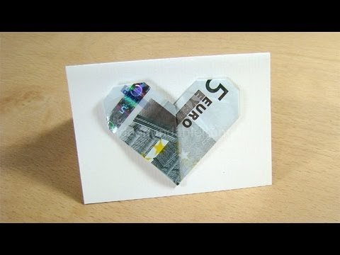 Geldgeschenke: Herz - Geldscheine Falten - Herz Falten Für Geldgeschenke Zu Weihnachten
