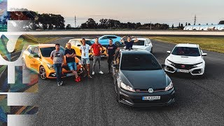 Golf GTI TCR x Megane RS Trophy x Civic Type-R x i30 N 🏁  4K DRAG RACE & TRACK TEST
