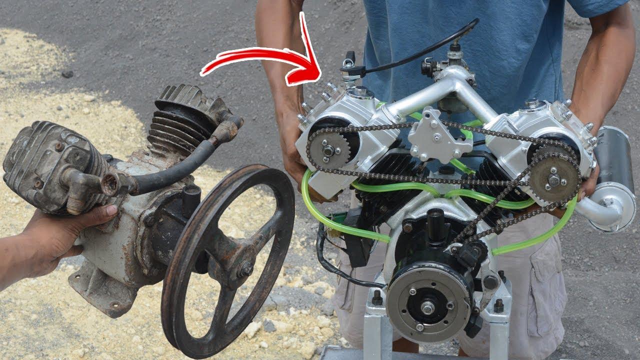 I turn V-twin Compressor into V-twin engine