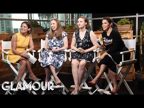 Lena Dunham, Chelsea Clinton and America Ferrera at the DNC | Glamour
