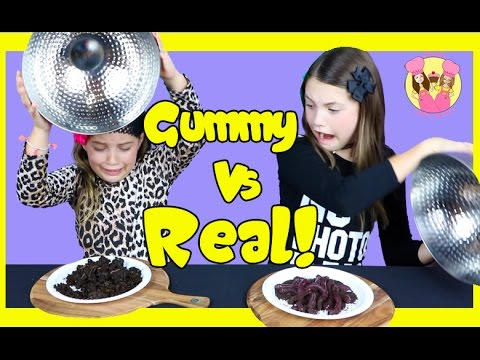 Thumbnail: GUMMY VS REAL FOOD CHALLENGE Taste test Candy - Healthy - gross - Kids react - Ash freaks out!