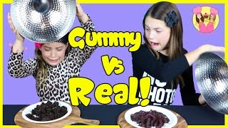 GUMMY VS REAL FOOD CHALLENGE Taste test Candy - Healthy - gross - Kids react - Ash freaks out!