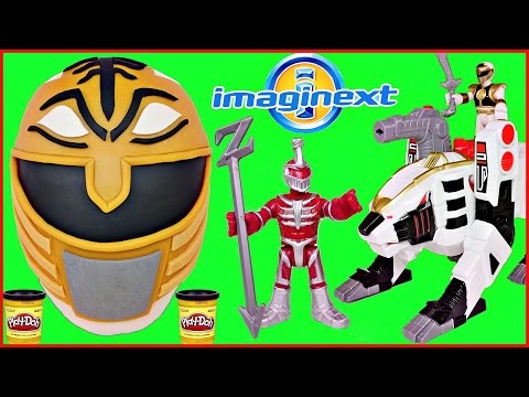 GIANT PLAY DOH SURPRISE EGG White Power Rangers and IMAGINEXT Tigerzord  Figure Pack