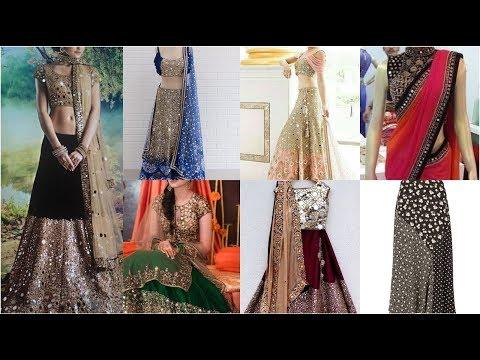 Very Latest Classic Mirror Work Designer Dresses /lahnga Choli Dresses